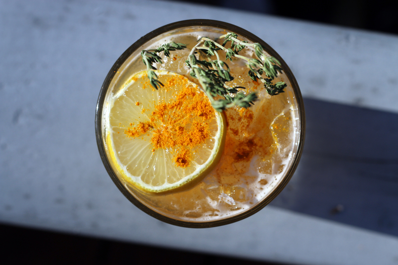 Full tequila thyme turmeric lemonade desert island drinks