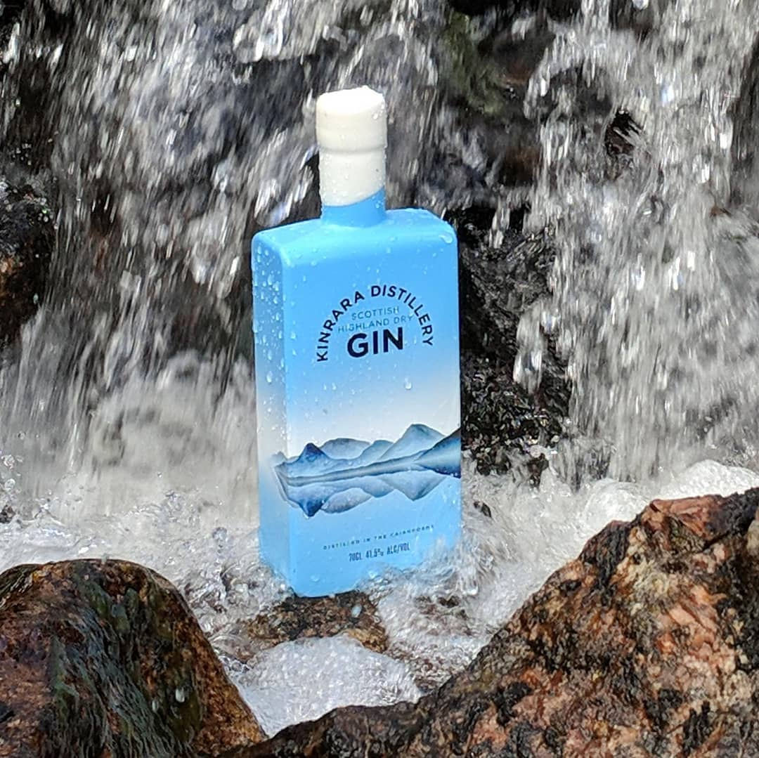 Kinrara distillery gin waterfall