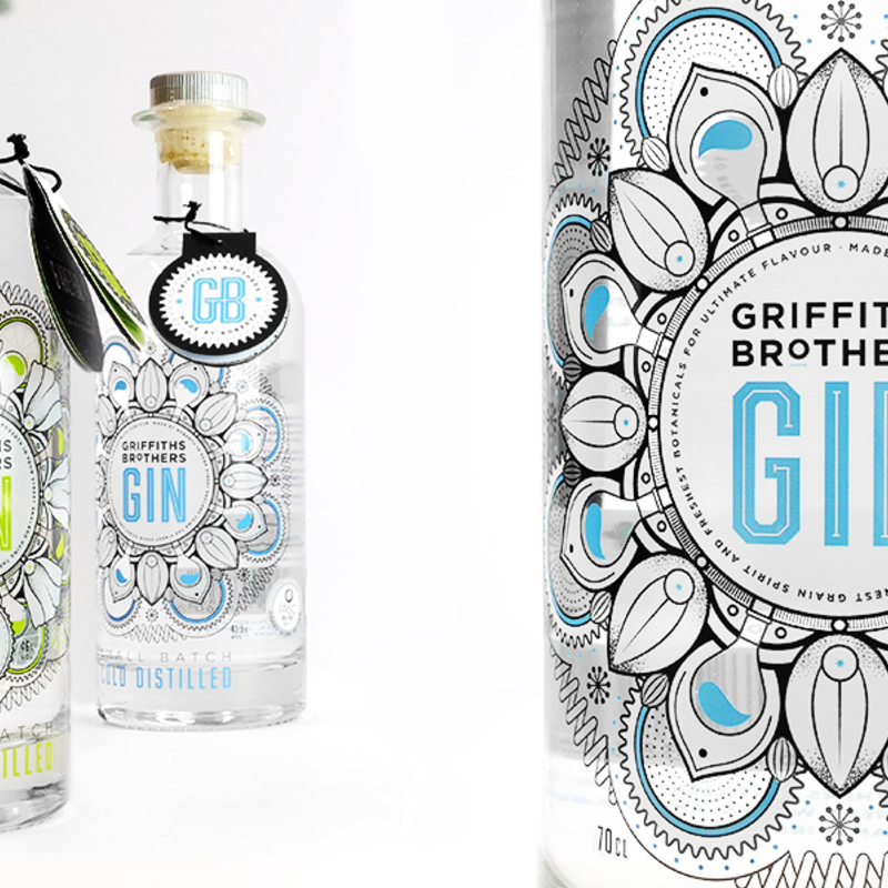 Square griffiths brothers gin bottles