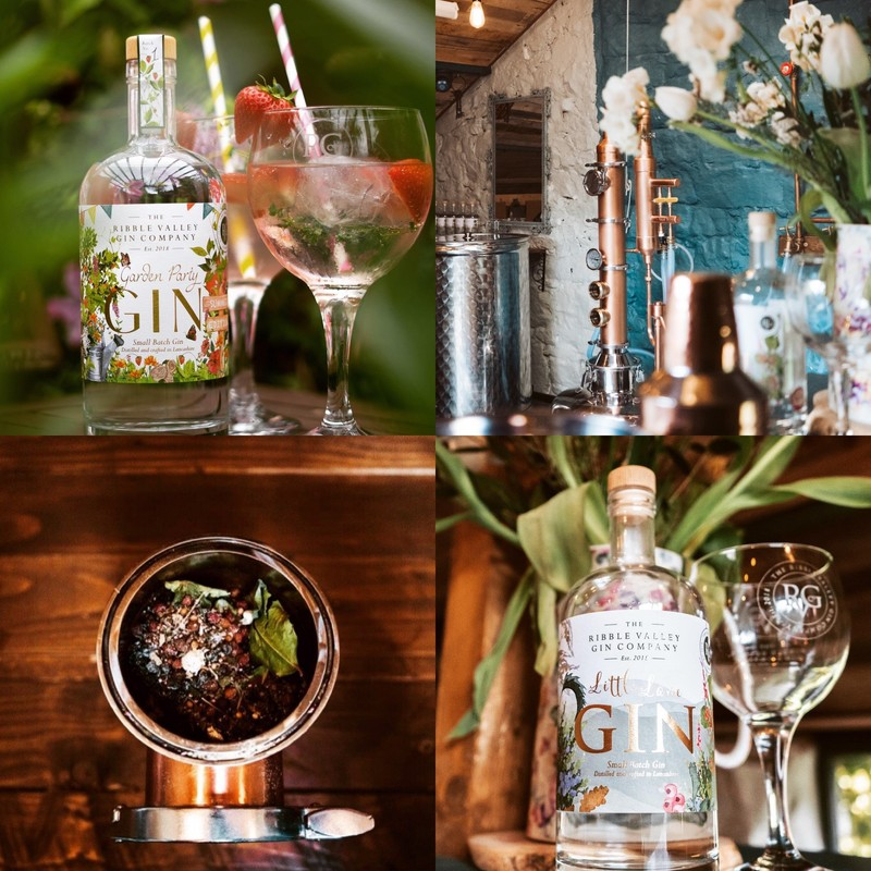 Square ribble valley gin collage