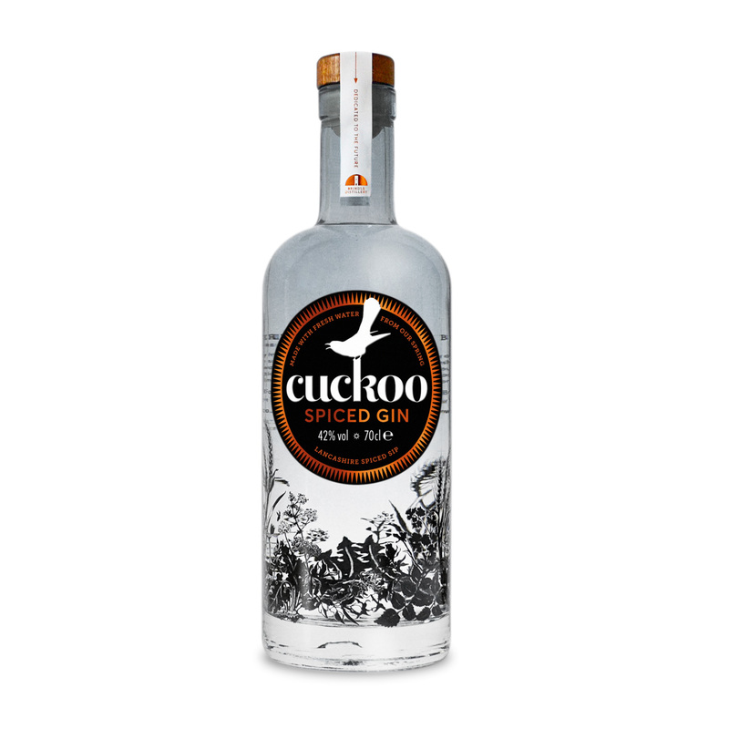 Full brindle cuckoo spiced gin bottle