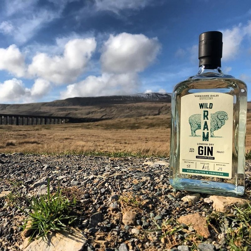 Full wild ram gin yorkshire dales distillery with viaduct