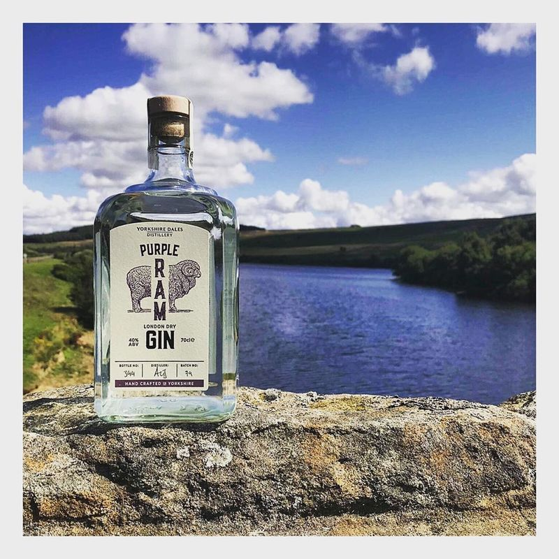 Full purple ram yorkshire dales gin with lake