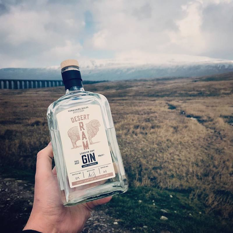 Full desert ram gin yorkshire dales distillery with viaduct
